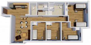 5 student unit floor plan, The Woods